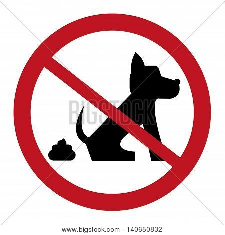 flat design no dog pooping sign icon vector illustration