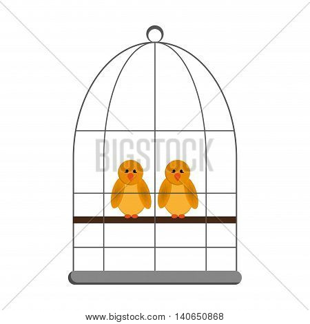 flat design birds in cage icon vector illustration