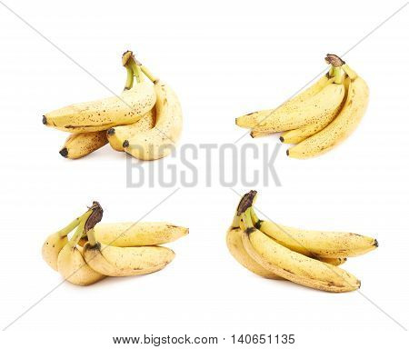 Bunch of old spotted bananas isolated over the white background, set of four different foreshortenings