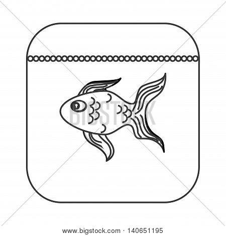 flat design fish food icon vector illustration