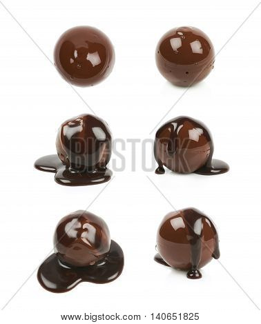 Chocolate ball candy coated with the hot liquid chocolate, composition isolated over the white background, set of six different foreshortenings