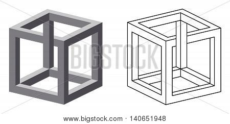 Impossible cube optical illusion. Also known as irrational cube an impossible object invented by M.C. Escher. Viewed from a certain angle, this cube appears to defy the laws of geometry. Illustration.