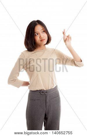 Beautiful Young Asian Woman Cross Finger