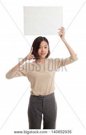 Young Asian Business Woman Point To  Blank Sign