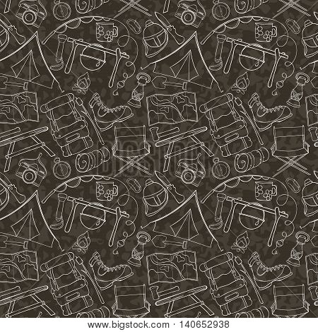 Seamless pattern of camping gear elements can be used for wallpaper, website background, wrapping paper. Hand drawn tourist illustration. Camping equipment vector collection. Hike outdoor elements