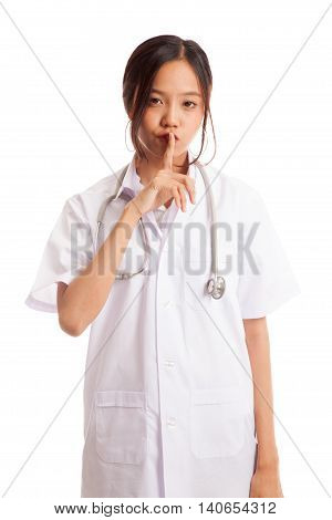 Asian Young Female Doctor Do Quiet Sign