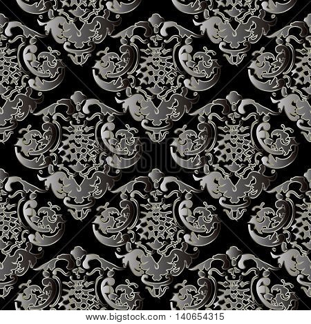 Dark baroque vector seamless pattern with gray volumetric 3d  ornament. Vintage element for design in Victorian style. Ornate luxury floral decor for textile.Endless stylish texture