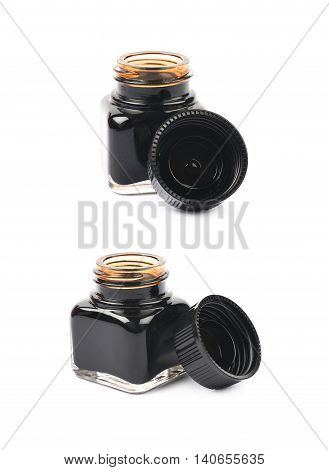 Tiny bottle filled with the black ink, composition isolated over the white background, set of two different foreshortenings