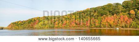 Panoramic View of Fall Colors Along the St. Croix River near Stillwater Minnesota