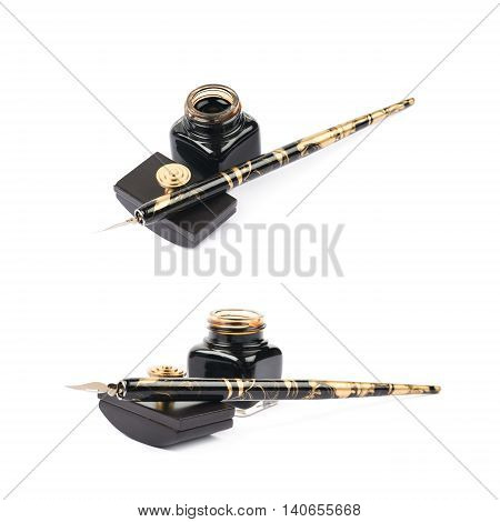 Ink writing tools composition of a blotting paper press, ink bottle and dip tip pen, isolated over the white background, set of two different foreshortenings