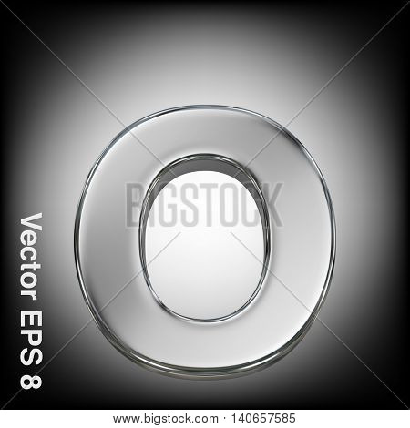 Vector letter o from metal alphabet. Lowercase metal font collection. EPS 8