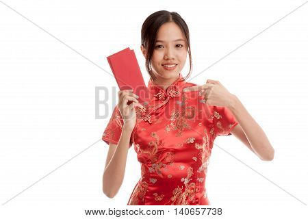 Asian Girl In Chinese Cheongsam Dress Point To Red Envelope