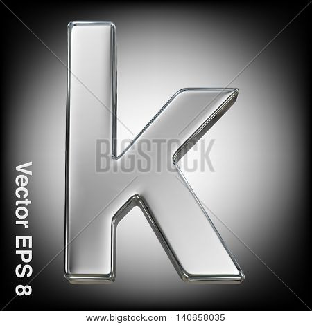 Vector letter k from metal alphabet. Lowercase metal font collection. EPS 8