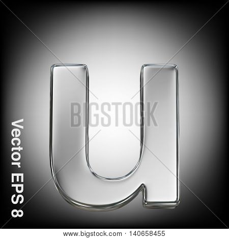 Vector letter u from metal alphabet. Lowercase metal font collection. EPS 8