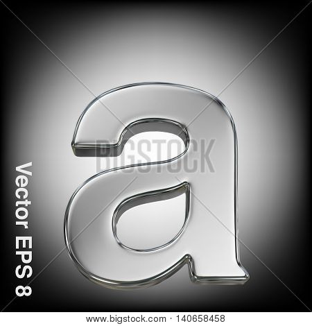 Vector letter a from metal alphabet. Lowercase metal font collection. EPS 8
