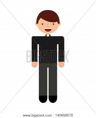 priest man religious icon vector isolated design
