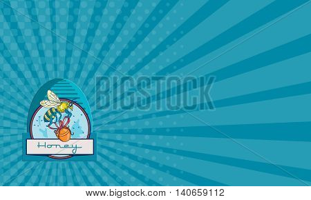 Business card showing illustration of a worker honey bee carrying a honey pot with ribbon with skep in the background set inside circle and the word Honey in the bottom done in retro style.