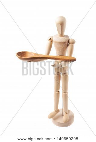 Made of wood human doll puppet statuette holding a serving wooden spoon, composition isolated over the white background