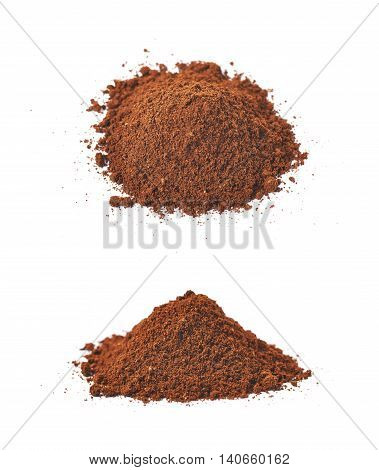 Pile of the ground coffee flakes isolated over the white background, set of two different foreshortenings