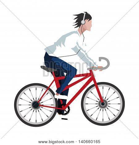 flat design man riding bike with headphones icon vector illustration