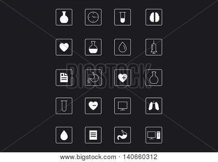 Icons design sample . Mixed media