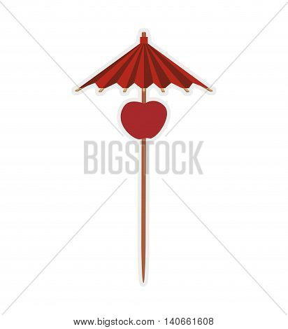Cocktail decoration concept represented by umbrella icon. Isolated and flat illustration