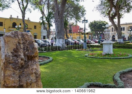 Main Square Garden In Barranco Lima
