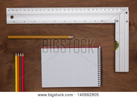 Measuring Instruments engineer on a wooden background