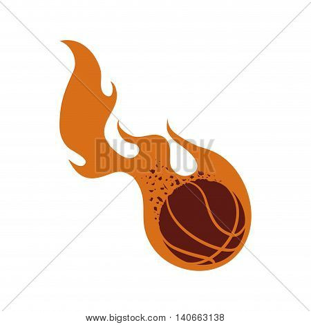 Basketball concept represented by ball with fire icon. Isolated and flat illustration