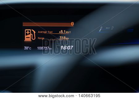 Picture of car instrument panel,focus car dashboard