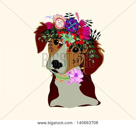 Drawing dog face, macaque portrait with beautiful flowers on the head, floral wreath.