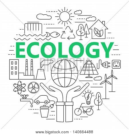Ecology and environment concept illustration thin line flat design. Modern thin line icons set of ecology sustainable technology renewable energy recycling nature protection of flora and fauna.