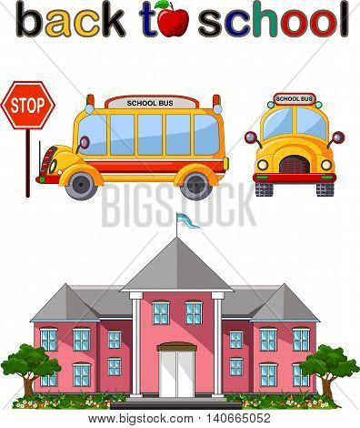 Modern Back to school background with school bus and building school