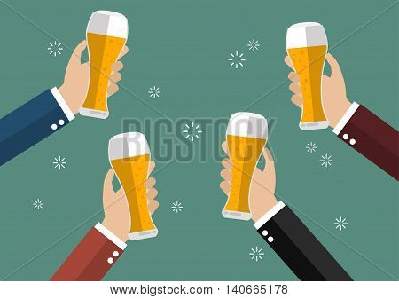 Businessmen toasting glasses of beer. Concept of cheering people party celebration