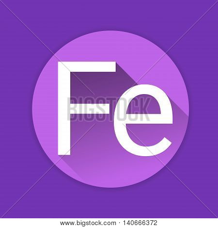 Fe Nutrition Chemistry Element Colorful Icon Flat Vector Illustration
