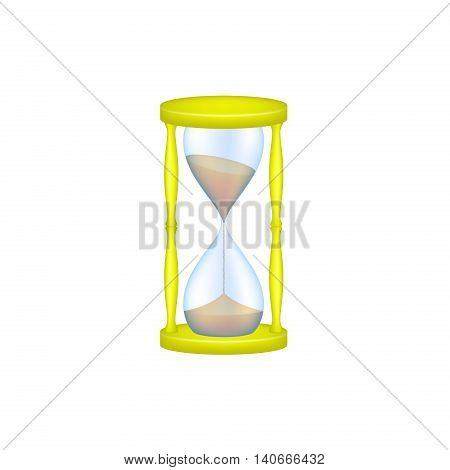 Sand glass in yellow design and blue glass on white background