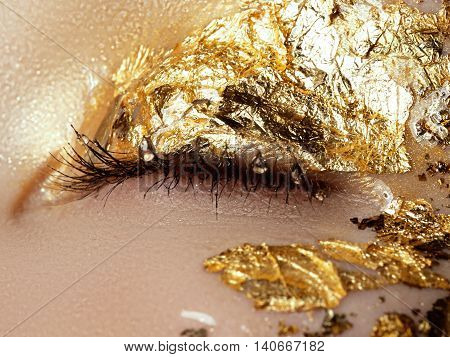 Cosmetics And Make-up. Closeup Macro Shot Of Fashion Sparcle Vi