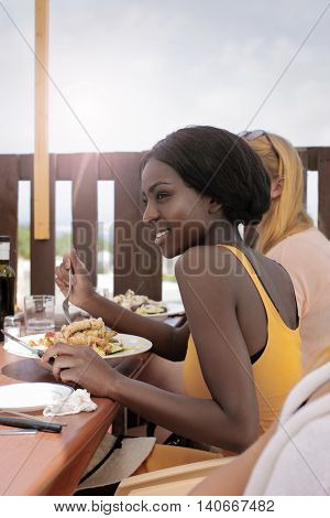 Eating dinner together