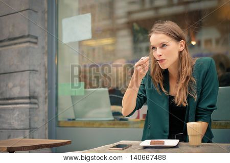Blonde woman at the cafeteria