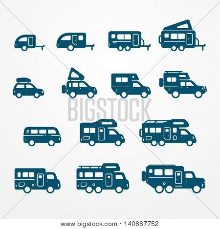 Set of camping car icons in flat silhouette style. Travel SUV, pickup, truck and trailer icons. Transport vector stock illustration.