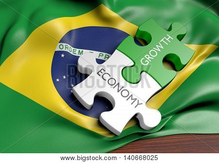 Brazil economy and financial market growth concept, 3D rendering