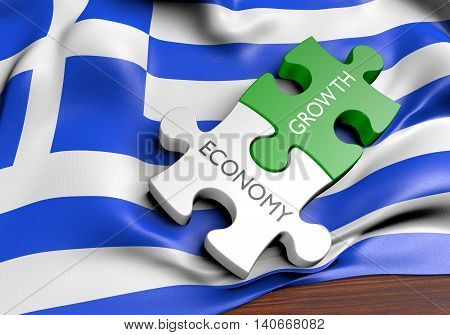 Greece economy and financial market growth concept, 3D rendering