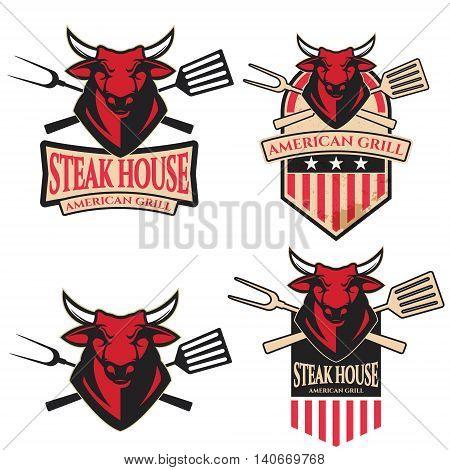 steak house. Set of the emblems with kitchen tools with bull heads. Design element for logo label emblem sign brand mark. Vector illustration.
