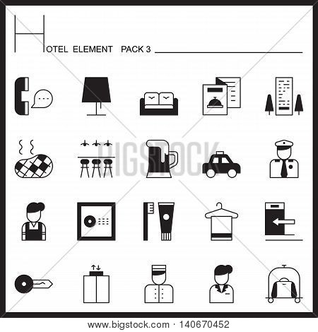 Hotel Element Line Icon Set 1.Mono pack.Graphic vector logo set.Pictogram design