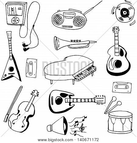 Doodle of music set hand draw for collection stock