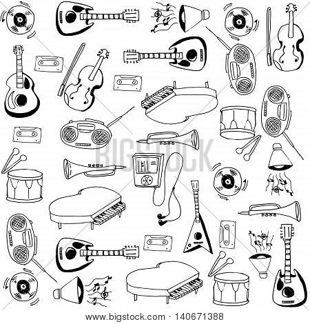 Doodle of element music set vector collection stock