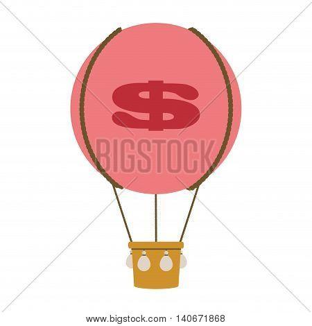 flat design dollar sign hot air balloon icon vector illustration