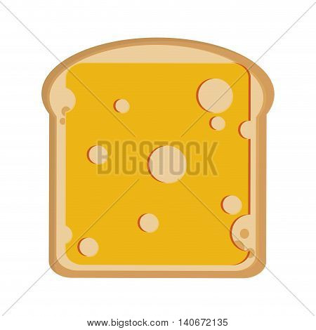 flat design bread slice with cheese icon vector illustration
