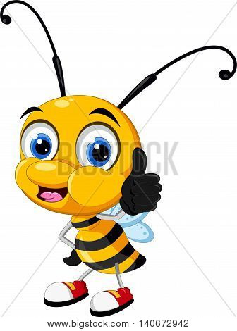 funny cartoon bee thumb up for you design