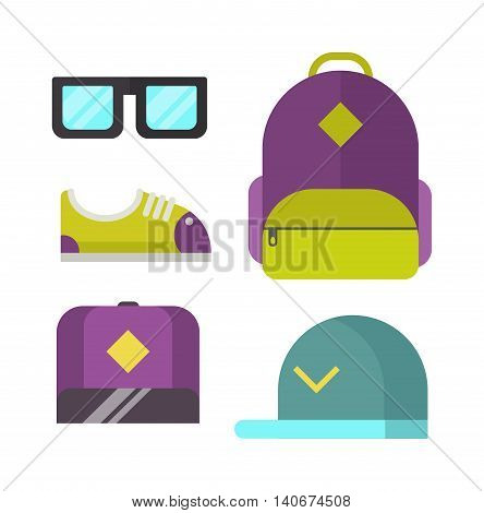 Flat style modern clothes laundry vector icon casual life wardrobe summer accessories. Modern clothes girl, concept, casual, collection. Colorful store top bag modern clothes beautiful sunglasses.
